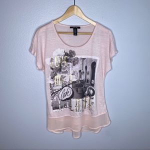 """Style & Co Pink """"Love Me A Latte"""" Tee w Decor"""